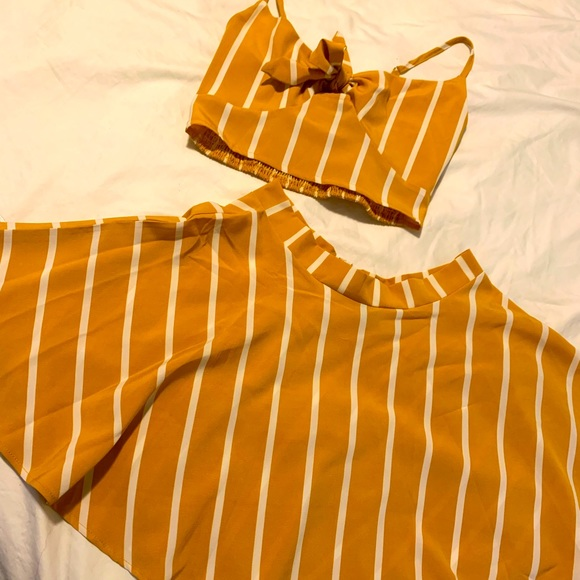 Two piece top and skirt set. SHEIN. Never worn. Mustard yellow and white.